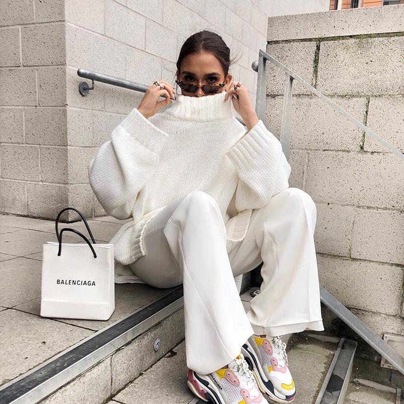 Autumn Winter 2019 Knitwear Pullover Sweater Women White Oversized Jumper Fashion Casual Turtleneck Basic Sweaters 11