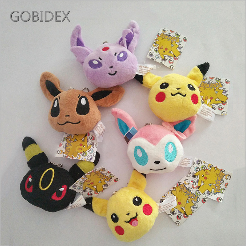 Plush Keychain 6 Style Pikachu Doll Pendant Line Friends PP Cotton Crystal Super Soft