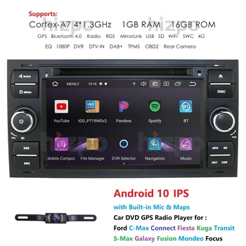 AutoRadio 2din Android Car Multimedia Player GPS Fit Ford Focus C-Max Connect Fiesta Kuga Transit S-Max Galaxy Fusion Mondeo Nav image