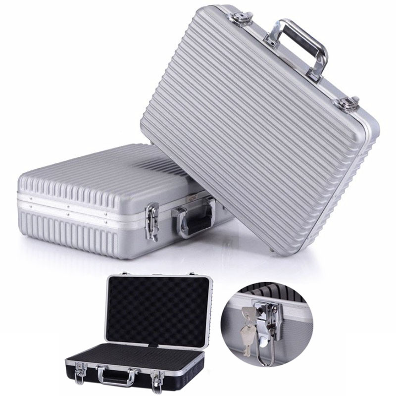 45x32x13mm Portable Plastic Aluminum Alloy Toolbox Suitcase Anti-fall Safety Instrument Case Storage Tool Box With Sponge Lining