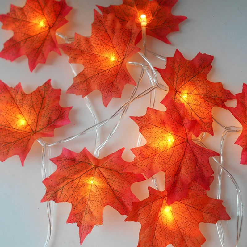 LED String Maple Leaves Fairy Garland String Lights Battery Operated Halloween Garden Home Christmas Tree Decoration Lighting