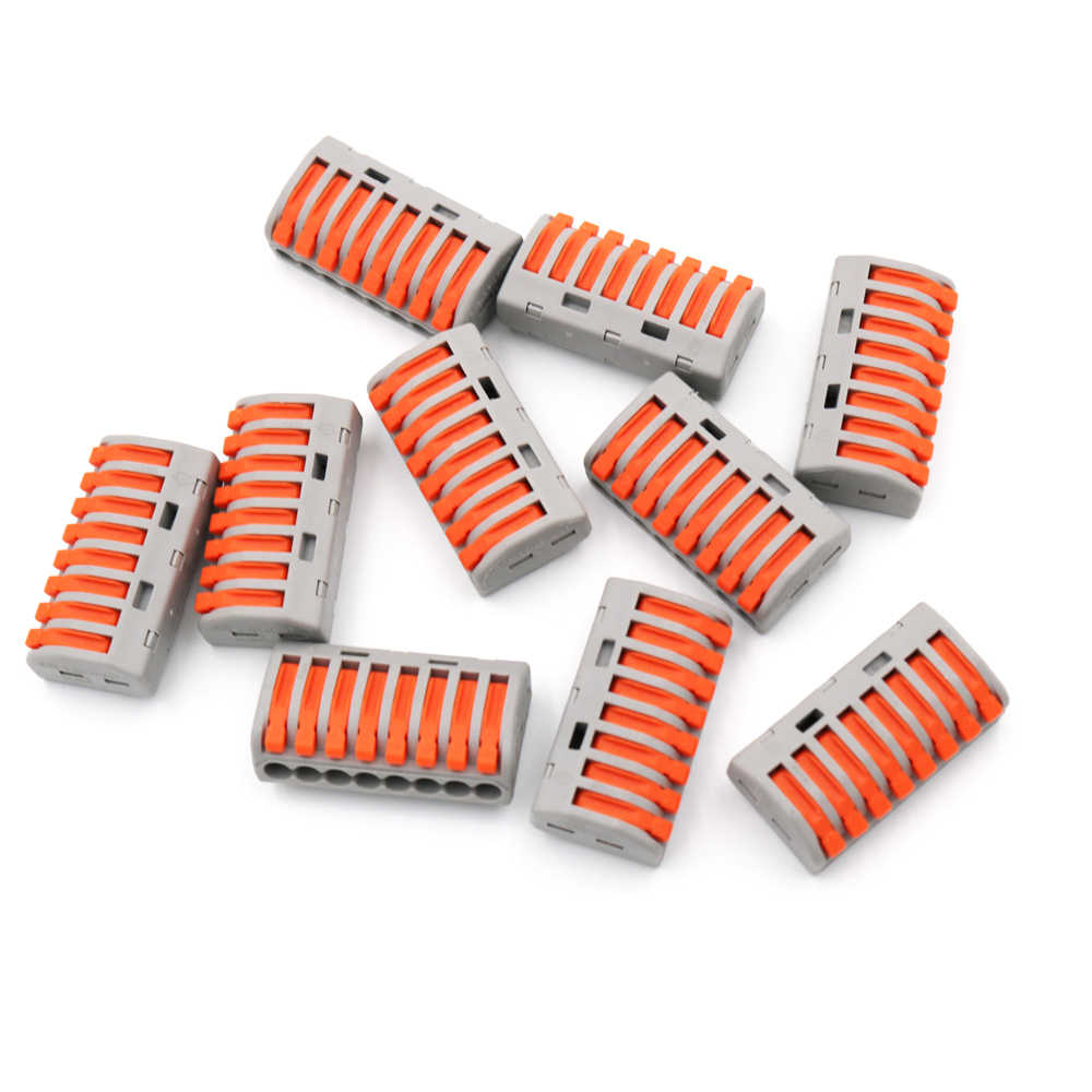 15pcs/box PCT-218 222-418 PCT 218 Mini Compact Wire Connectors Universal Wiring Cable Push-In Terminal Block Lever 0.08-2.5mm2