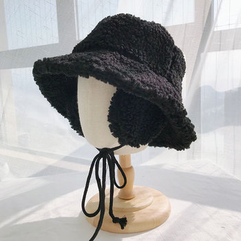 2020 Winter hats women thick bucket hats with earmuffs solid color lamb wool bucket hat warm panama hats caps image