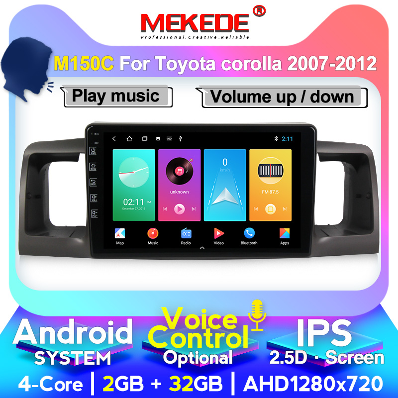 MEKEDE Car radio multimedia player For Toyota <font><b>Corolla</b></font> <font><b>E120</b></font> e 120 BYD F3 2007-2011 gps navigation wifi 4G SIM IPS car stereo image