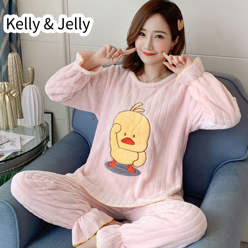 Autumn/winter thickened coral Plush women's Pajama suit with plush cute little yellow duck flannel long sleeve home clothes