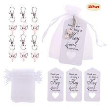 20 unids/set llavero etiquetas tarjetas dulces bolsas Vintage recuerdos de boda fiesta de invitados favores Decoración