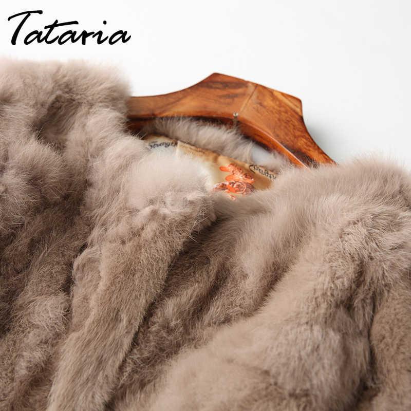 Tataria Echt Kaninchen Pelz Jacke für Frauen Lange Hülse Plus Größe Mantel frauen Kurze Echt Kaninchen Mantel Weibliche Warme plüsch Mäntel