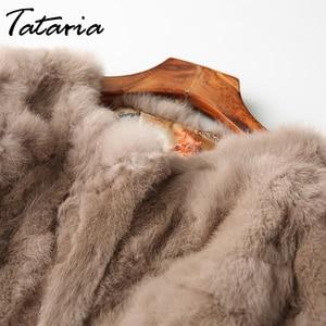 Image 4 - Tataria Real Rabbit Fur Jacket for Women Long Sleeve Plus Size Overcoat Womens Short Real Rabbit Coat Female Warm Plush Coats