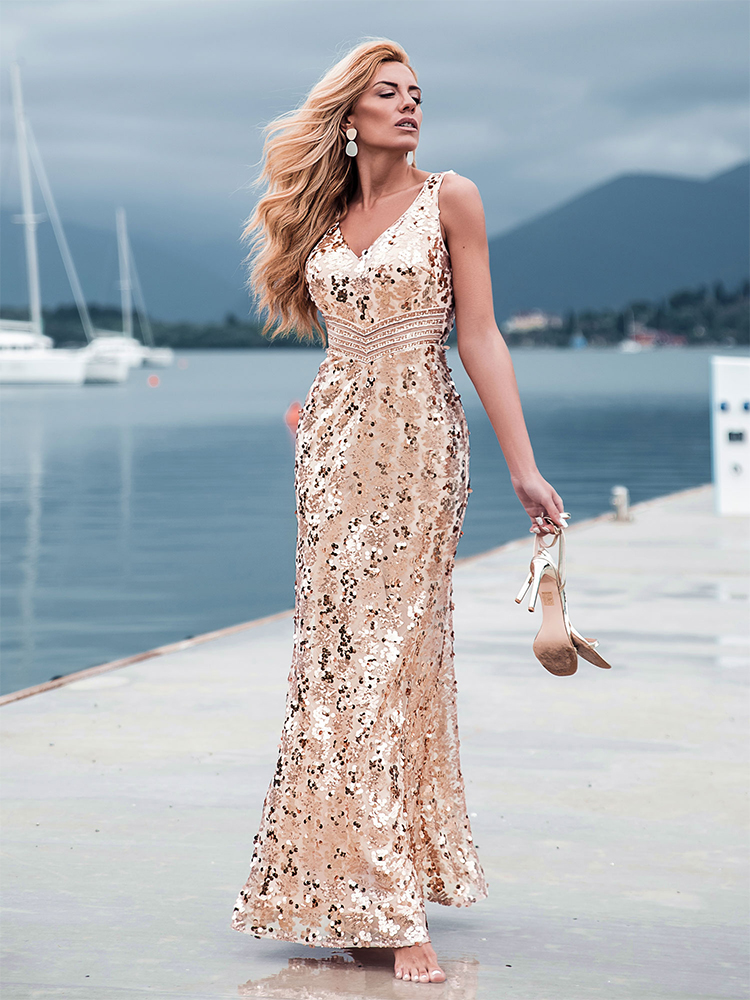 Evening-Dresses Sequined Ever Pretty Mermaid Party Formal Elegant Plus-Size Women V-Neck