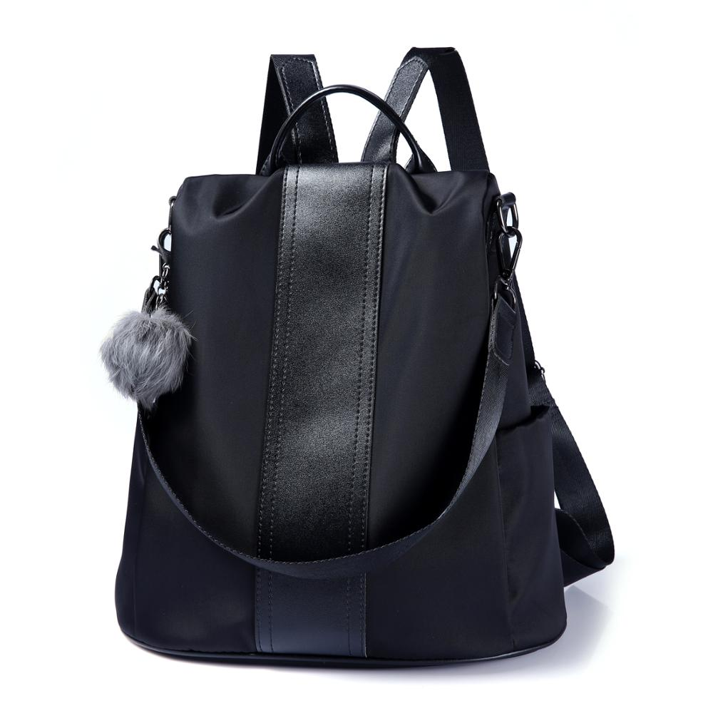 Shoulder-Bag Anti-Theft-Backpack Oxford-Cloth Women Femal-Bag Solid-Color Fashion Casual