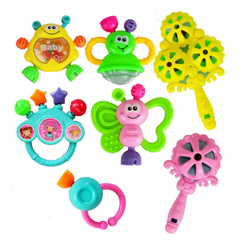 7Pcs Toddlers Baby Toys Cartoon Animal Hand Bell Lovely Hand Shake Ring Rattles Teether For Newborn