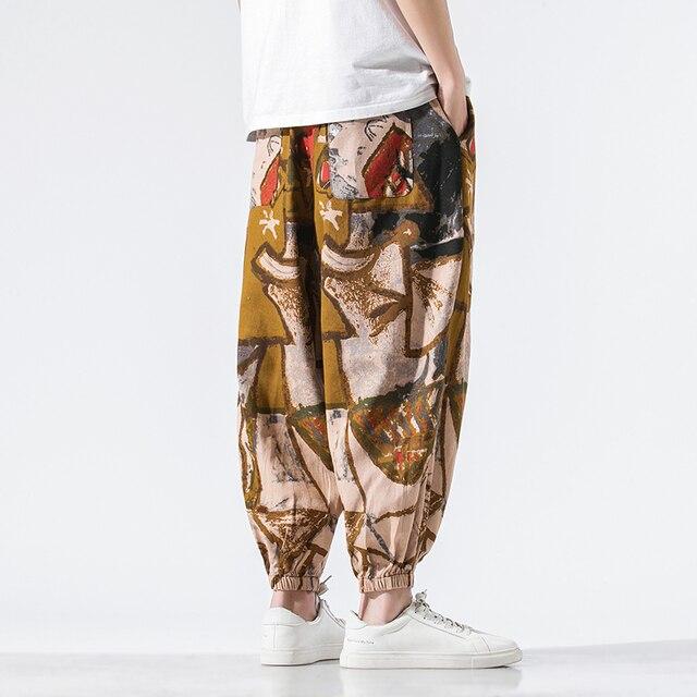 Calças masculinas harem calças joggers estampado com cordão solto-virilha calças masculinas 2020 solto coreano streetwear algodão casual calças masculinas 6