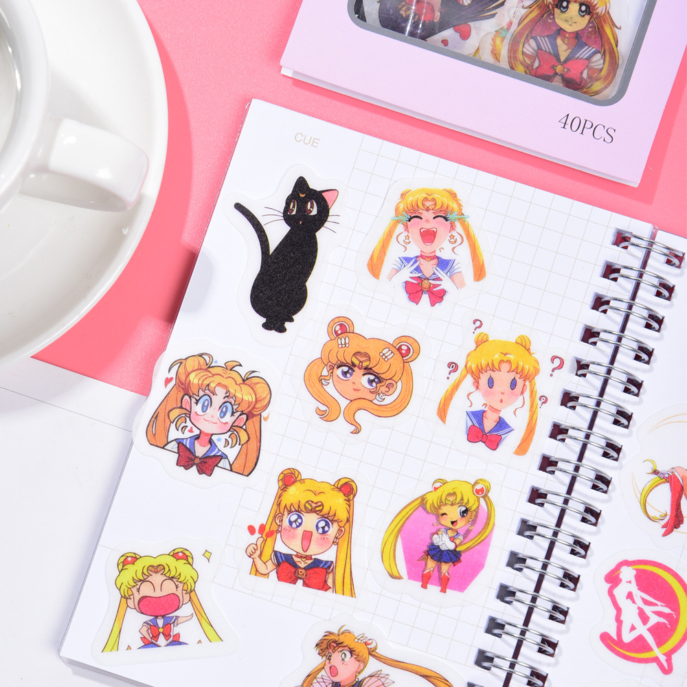 40 pcs/set New Arrival Sailor Moon Non-Repeated Washi Paper Stickers Scrapbooking Stationery Diary S