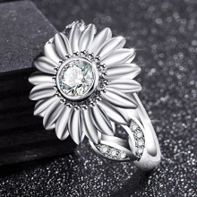 2019 new luxury sunflowe 925 sterling silver fashion ring for women lady party gift jewelry wholesale moonso R5478