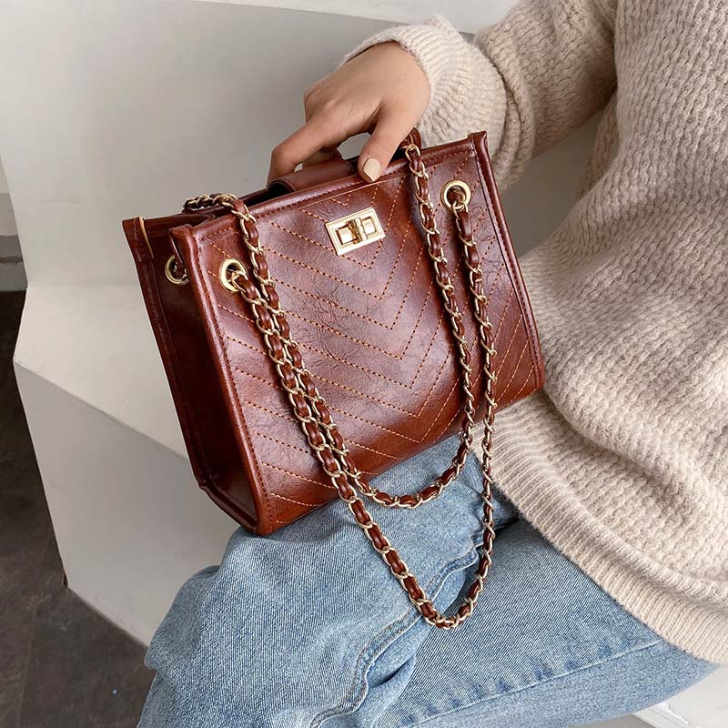 Sewing Thread PU Leather Crossbody Bags For Women 2020 Small Shoulder Messenger Bag Female Fashion Travel Handbags