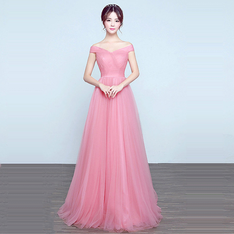 Bridesmaid Dresses Elegant Long Wedding Party Dress 2019 Fashion Plus Size Boat Neck Off The Shoulder Robe De Soiree DSYA003