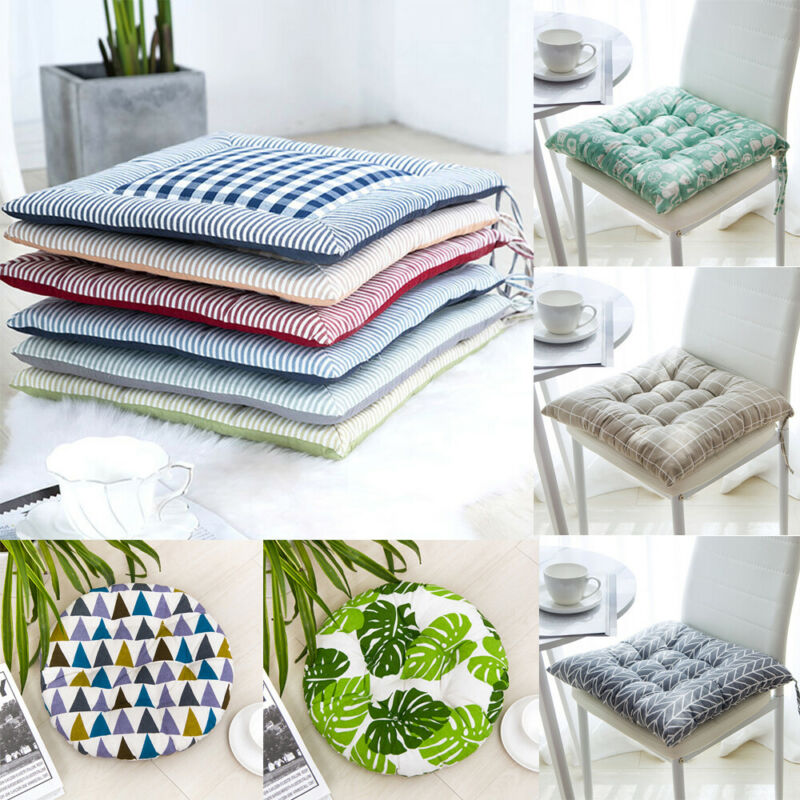 Indoor Home Chair Cushion Mat Pad Dining Kitchen Office Cushion Soft Seat Pads Tie On-Square Chair Modern Printed Throw Pillow