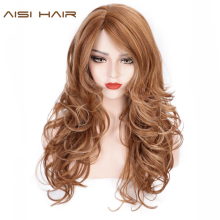 AISI HAIR Long Wavy Synthetic Wig Light Brown Mixed Blonde Wigs for Black Women Side Part Natural Wig Heat Resistant Hair