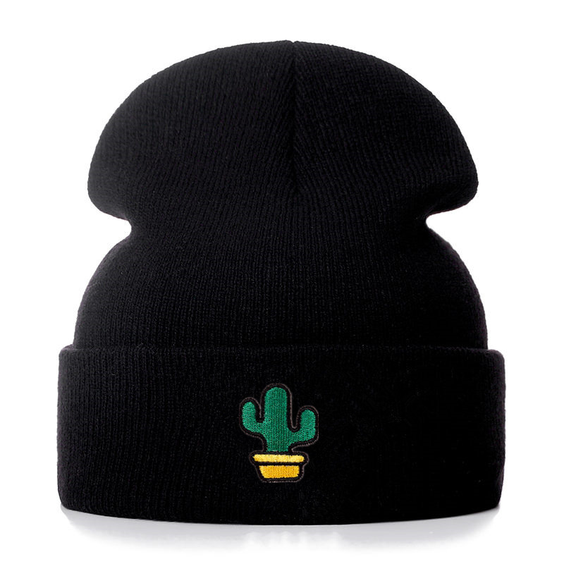 Cactus Embroidery Cotton Casual   Beanies   for Men Women Knitted Winter Hat Solid Color Hip-hop   Skullies   Hat Unisex Cap