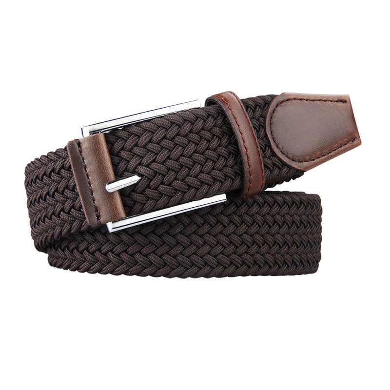 Wysokiej jakości męski elastyczny pas w talii pleciony styl z srebrna klamra pas elastyczny jednokolorowy pasek płócienny spodnie Unisex