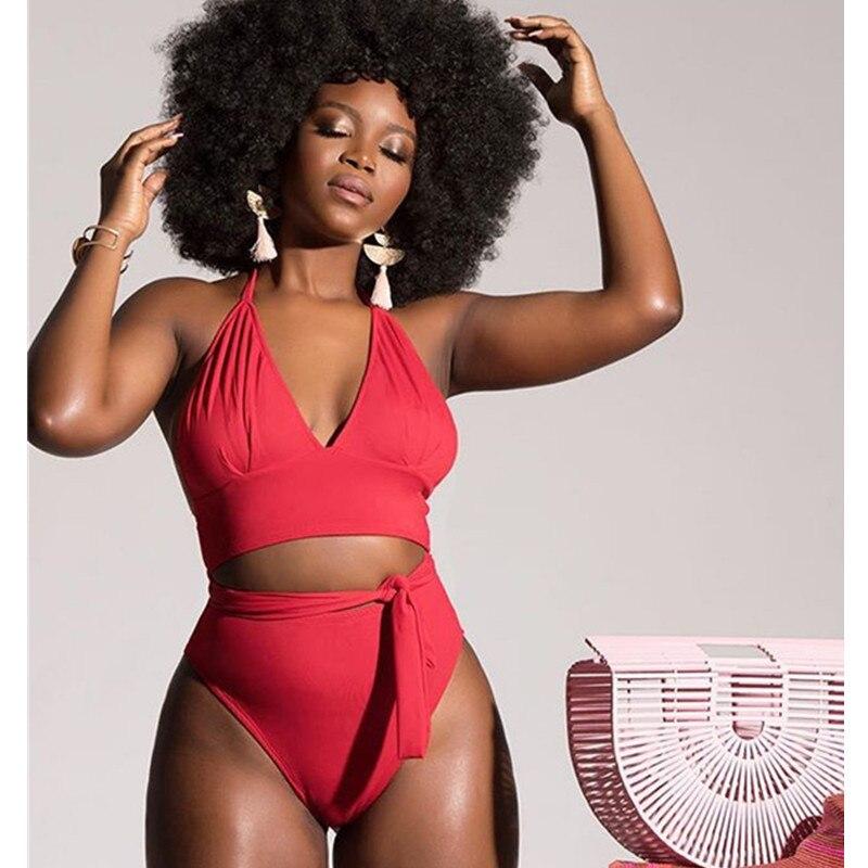 2 Piece Bikini Set Split Swimsuit Solid Color High Waist Bikini Swimwear Women Swimming Bathing Suit Padded Tie Up Plus Size 3XL 1