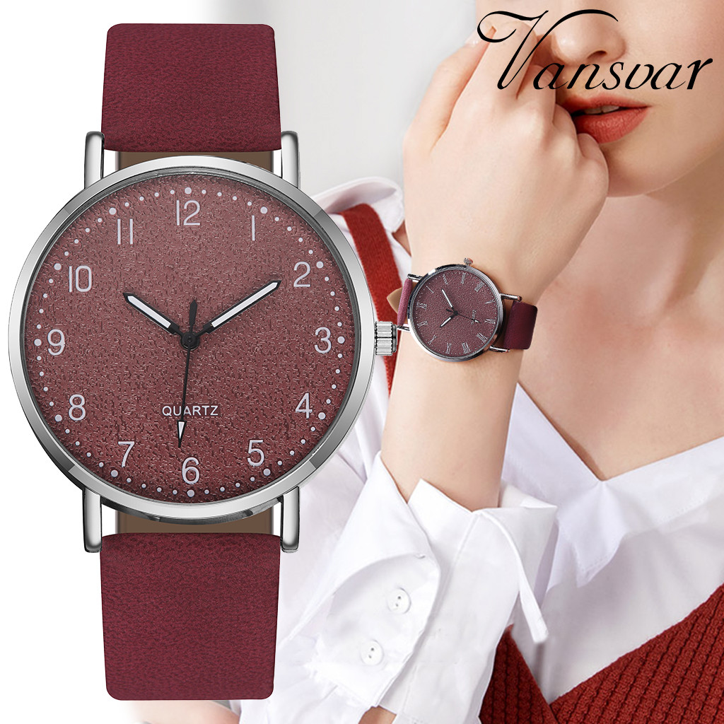Fashion 2020 vansvar Women's Casual Quartz Leather Band Newv Strap Watch Analog Wrist Watch Wristwatch Clock Gift High Quality#8