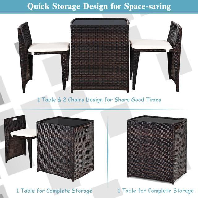3PCS Outdoor Patio Rattan Furniture Set  5