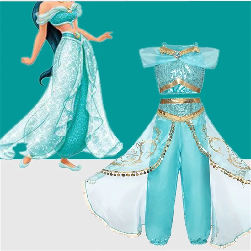 Halloween Christmas Party Cosplay Kids Girls Princess Jasmine Costumes For Children Party Belly Dance Dress Indian Costume 2ps