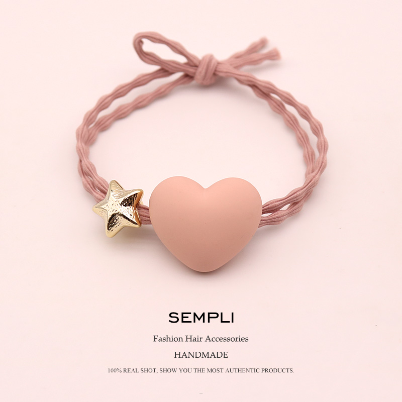 Sempli High Elasticity Elastic Hair Band For Women Soft Heart Shape Hair Band Kid Children Rubber Band Hair Accessories Headwear