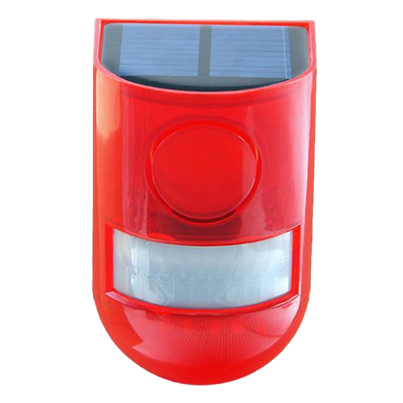 New Solar Infrared Motion Sensor Alarm With 110Db Siren Strobe Light For Home Garden Carage Shed Carvan Security Alarm System-Re