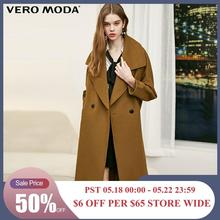 Vero Moda damska klapa opuszczane ramiona rękawy dwuprzyciskowy wielokolorowy wełniany płaszcz | 318327533