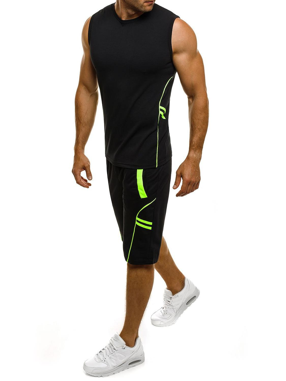 2020 Summer Casual Men's Tracksuit Men Two Piece Sleeveless Set Sport Suit Sportswear Set Male Basketball T Shirt & Shorts MY169