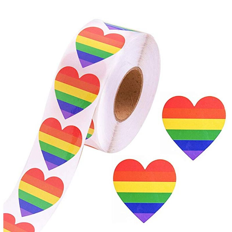 500 Love Rainbow Ribbon Stickers Gay Pride 6 Color Stripes Heart Shape Roll Tape Tags
