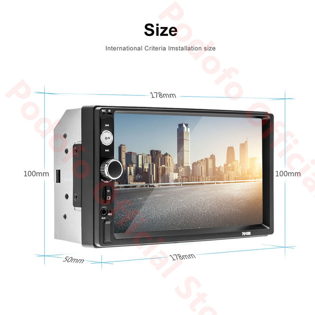 Podofo 2Din Android Car Radio Multimedia Player RAM 2G + ROM 32G GPS Navigation BT FM WiFi No dvd 2 DIN Radio For VW Nissan Kia 1
