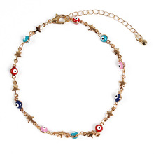 New Simple Fashion Chain Anklets for Women Handmade Colored Eyes Beads Star Pendant Anklet Bracelet Jewelry
