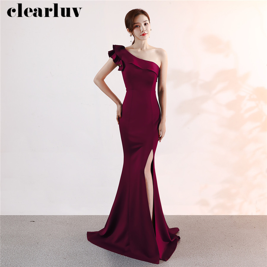 Evening Dress One-Shoulder High Side Split Party Gown DX325-1 2020 Plus Size Robe De Soiree Burgundy Ruffles Mermaid Formal Gown