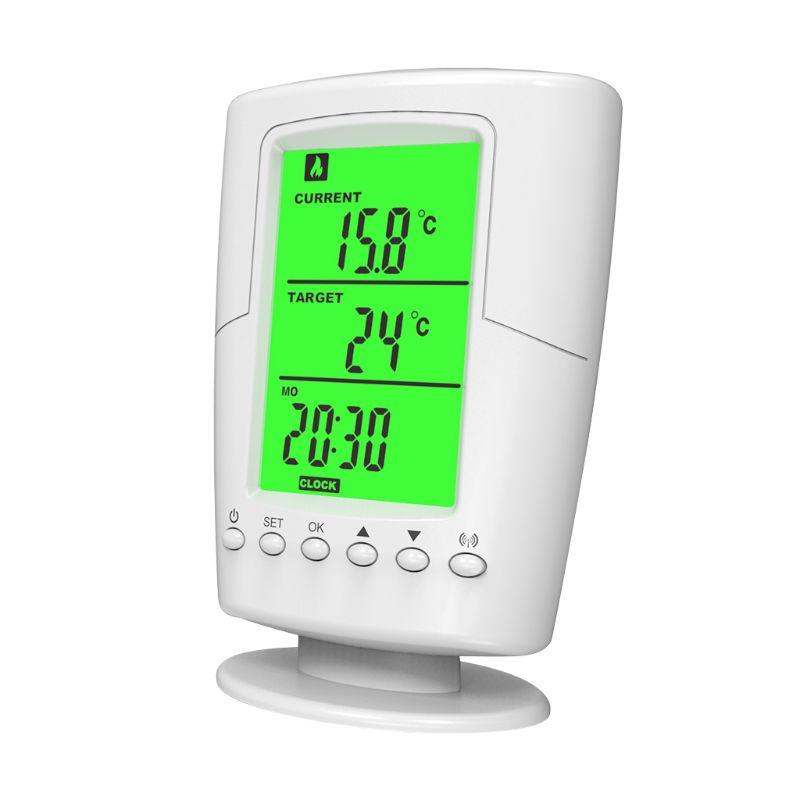 Wireless Programmable Thermostat Socket Controller Heating & Cooling Function With Remote Control + LCD Backlight EU Plug