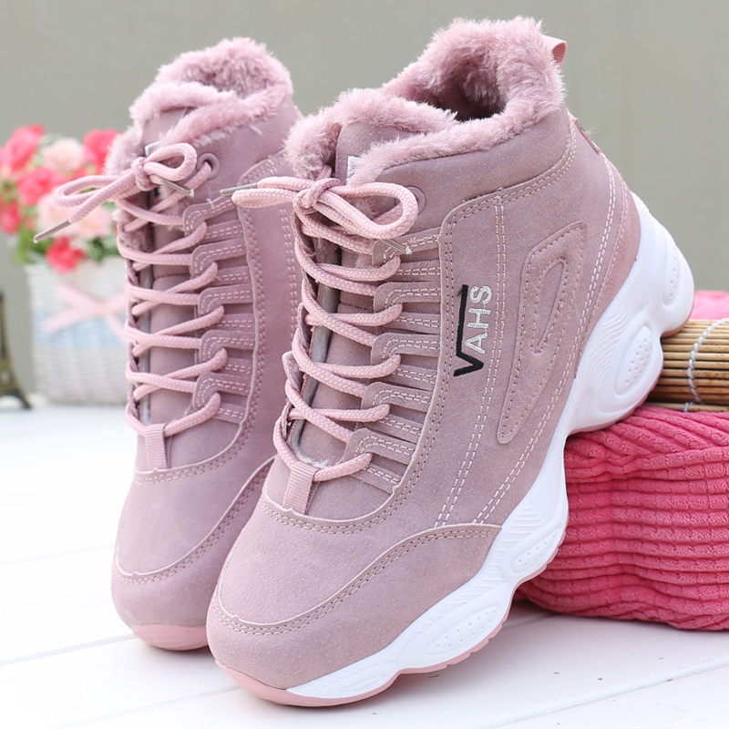 HILYAA New Sneakers Woman Winter Ankle Vulcanized Shoes Warm Thick Plush Suede Female PU Leather Outdoor Sneakers  Fur Women