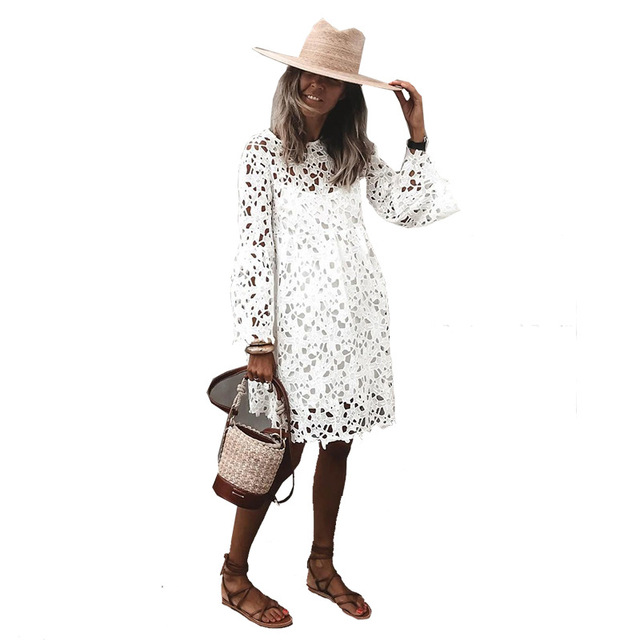 2021 New Lace Flared Sleeve Ruffled Dress Two-Piece Female Spring And Summer Solid O-Neck Elegant Casual Party Dresses S-5XL 4
