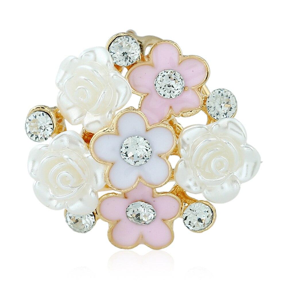 Шикарные цветы 2 цветов, трехкольцо с кристаллами, металлическая пряжка, искусственные шарфы, кольца-петли, ювелирные изделия для женщин