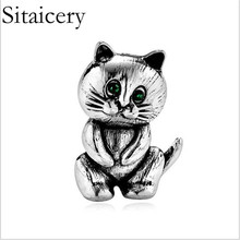 Sitaicery Cute Cat Brooch Clothing Pin Party Garment Accessories Blouse Brooches Neckline Decoration Fashion Women Jewelry Badge