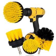 Perceuse électrique 3 brosses de nettoyage, Kit de brosse avec rallonge pour coulis, carreaux, salle de bains, cuisine et pneus de voiture, brosses en Nylon