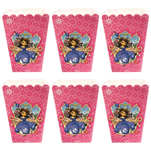 6pcs/set Funny Sofia Princess Kids Birthday Party Supplies Popcorn Box Case Candy Favor Accessory Decoration