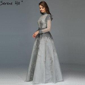 Image 5 - Muslimischen Grau Luxus Langen Ärmeln Abendkleider 2020 Neueste Design Kristall High Neck Formale Kleid Ruhigen Hill LA60975