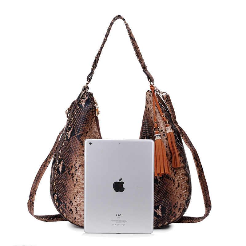 Большие женские сумки со смайликом и змеиным принтом, винтажная Большая Коричневая Сумка Хобо на плечо, женские сумочки и сумочки, женские ручные сумки 2019