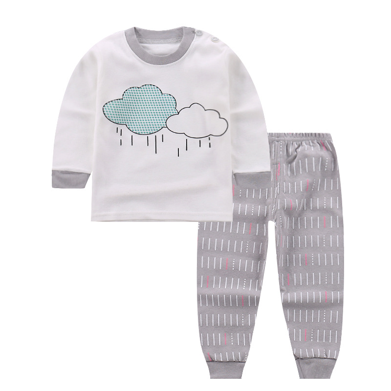 2018 Newly Autumn Lovely Pretty Infant Baby Girls Clothes Sets Cartoon Cloud Print Long Sleeve Pullover White Tops+Striped Pants