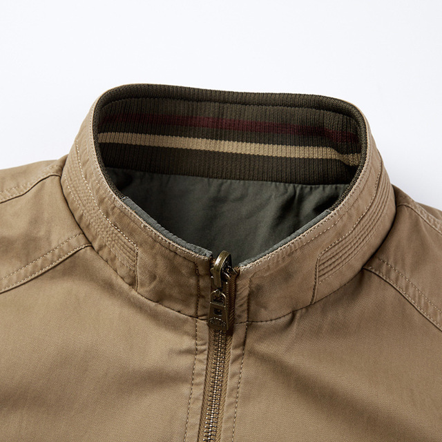 Spring Autumn Middle Aged Men's High Quality Double-sided 100% Cotton Khaki Jacket Coat Father Casual Style Man Army green Coats 4