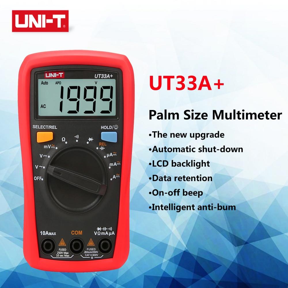 UNI-T UT33A+ Digital Multimeter Palm Size AC DC Voltmeter Ammeter Resistance Capacitance Meter High Precision Tester