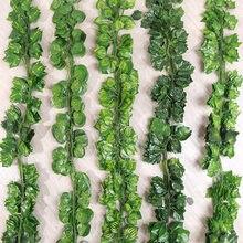 200cm plantas artificiais vívidas trepadeira uva folhas verdes ivy videira guirlanda para casa jardim festa de casamento decoração da parede rattan corda