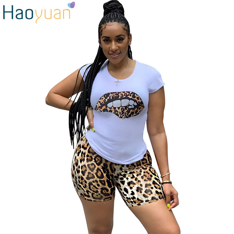 HAOYUAN Plus Size Two Piece Set Tracksuit Lips Short Sleeve Tops+Leopard Shorts Festival Matching Sets 2 Piece Outfits For Women